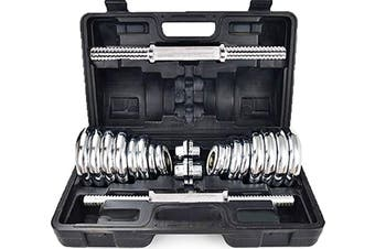 Chrome Dumbbell Set BarBel Home Gym Exercise Weight Adjustable 30Kgs