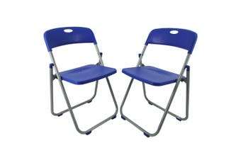 2 x Folding Office Chairs Padded Camping Picnic Arm Foldable Chair - Blue
