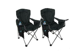 2 x Folding Chairs Padded Camping Picnic Arm Foldable Chair