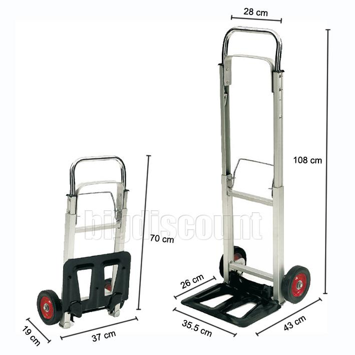 100kg Stair Climber Folding 2 in 1 Sack Truck Hand Trolley with Solid Wheels