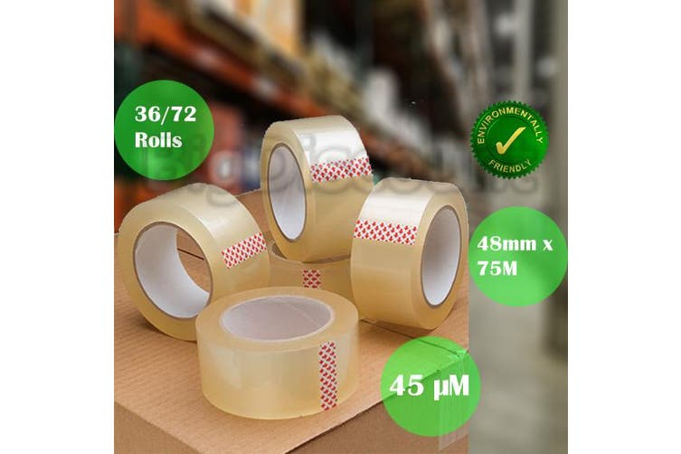 Clear Packaging Tape Adhesive Sticky Tapes 48mm 75M - 36 pcs