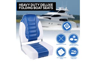 Heavy Duty Boat Seats Premium Boat Folding w/ Swivels All Weather Blue