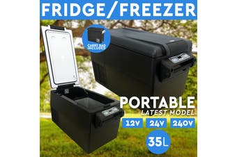 NEW 35L Portable Fridge Freezer 12V/24V/240V Camping Car Boating Caravan Fridge