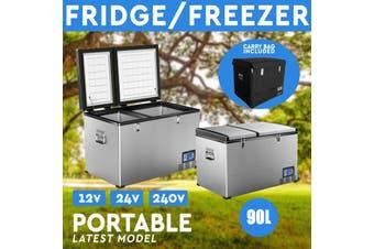 NEW! 90L Portable Freezer Fridge 12V/24V/240V Camping Car Boat Caravan Cooler