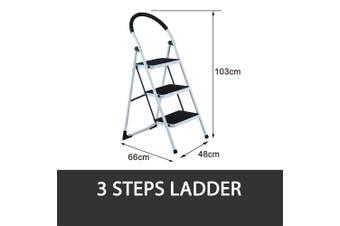 3 STEP LADDER MULTI PURPOSE FOR HOUSEHOLD OFFICE FOLDABLE NON SLIP