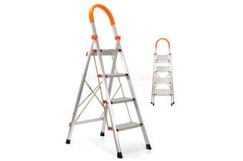 4 STEP LADDER ALUMINIUM MULTI PURPOSE FOR HOUSEHOLD OFFICE FOLDABLE NON SLIP