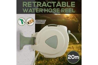 20M Retractable Garden Hose Reel Wall Mount Water Rewind Gun BRASS SPRAY GUN