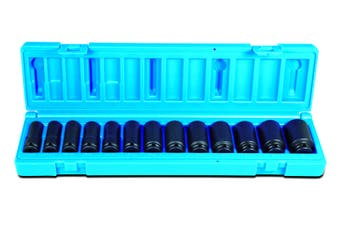 "13PCS 3/8"" Dr 6pt Metric Deep Magnetic Impact Socket Set 10mm - 22mm 6051R1301"