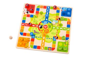 Tooky - 2 in 1 Wooden Board Game, Ludo, Snakes & Ladders