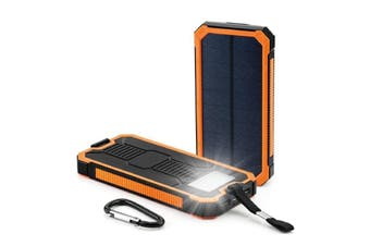 Solar Energy Panel Charger 10000mAh 2 USB Ports Rechargeable Power Bank Portable Charger for Smartphone Orange