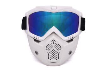 BF655 outdoor goggles and mask,UV-resistant polycarbonate scratch-resistant goggles for motorcycles riding outdoors-White frame color film