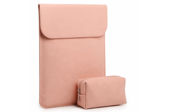 """11.6""""Waterproof laptop case, Laptop Sleeve Case Faux Suede Leather Notebook Bag for MacBook Air / Pro with Accessories Pouch Pink"""
