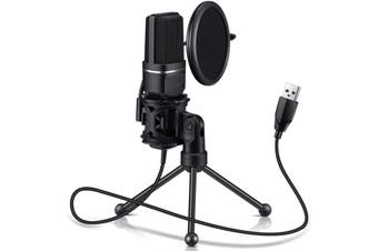 USB Computer Microphone-Plug and Play Computer Microphone-Metal condenser microphone with pop filter for Skype,YouTube,Google voice search,games (Windows / Mac)