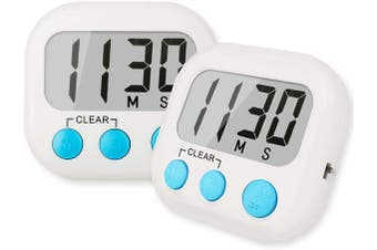 2pack Digital kitchen timer magnetic behind large LCD display,large alarm clock,countdown of minutes and seconds,with on / off switch,suitable for kitchen,family,exercise,games,