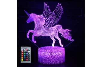 Children's night light,3D unicorn bedside lamp,LED optical illusion lamp,suitable for baby home decoration birthday gift
