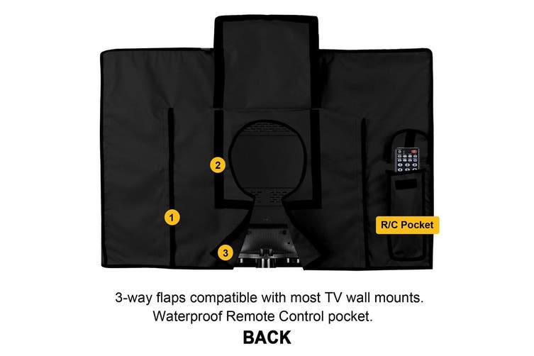 Outdoor TV Cover 60-65inch( 147*94*13CM) Waterproof Dustproof Television Protector Remote Control Pocket Bottom Cover for LED LCD Plasma Television Sets