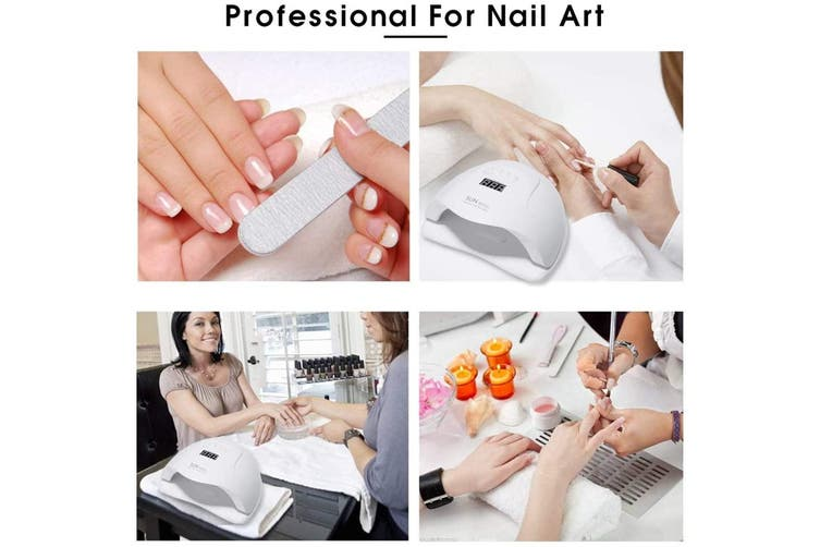 LED UV Lamp 80W Nail Dryer Polishing Gel Dual Light Source Nail Machine for Curing Nail Gel Art Salon Tools White