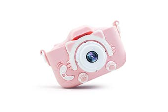 Mini Children Camera 20MP 1080P Small Cartoon Digital SLR Camera,2.0 Inch IPS Screen with Front & Rear Dual Cameras Pink