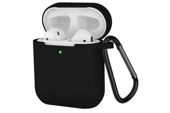 Compatible for AirPods Case with Keychain,Shockproof Protective Silicone Cover Skin for Apple AirPods Charging Case 2 & 1 Black