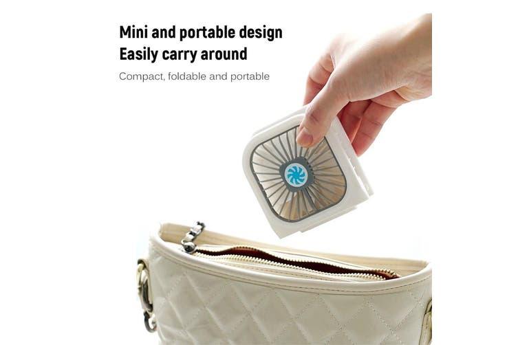 Handheld Rechargeable Fan,USB Mini Fan Low Noise Foldable Fan Desk Fan Folding Fan Neck Hanging Portable Fan with Lanyard White