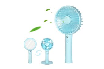 Mini Handheld Fan,USB Rechargeable Desk Fan 3 Speed Adjustable Small Personal Fan with Makeup Mirror for Outdoor Personal Cooling Office Household Traveling Blue