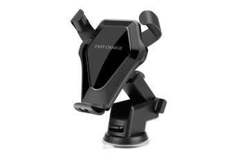 Qi Standard Car Wireless Charger Stand Gravity Dashboard Windshield Car Mount Air Vent Phone Holder Cradle Suction Mount Fast Wireless Charging Stand for iPhone X/8/8 Plus & Samsung Galaxy S8/S8+/S7 Edge/S6 Edge+/Note 5/Note Black
