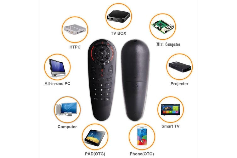Remote Control 2.4G Wireless Voice Air Mouse 33 Keys IR Learning Gyro Sensing Smart Remote for Game Android TV Box Mini PC Black