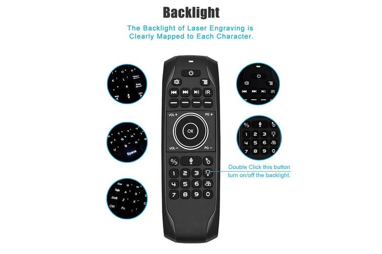 Backlit 2.4G Air Mouse Wireless Keyboard Voice Control Motion Sensing Backlight IR Learning for Smart TV Android TV BOX PC