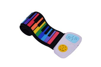 49 Keys Rainbow Roll-Up Piano Electronic Keyboard Colorful Silicon Keys Built-in Speaker Musical Education Toy for Children Kids
