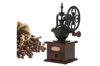 Manual Coffee Grinder Antique Coffee Mill Cast Iron Hand Crank with Grind Settings and Catch Drawer