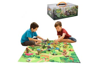 Dinosaur toy characters Activity play mats and trees,educational realistic dinosaur toy sets to create a dinosaur world,perfect gifts for children,boys and girls