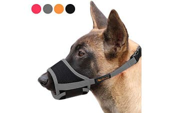 Dog Mouth Cover Nylon Soft Mouth Cover Anti-bite Barking Safety Mesh Breathable Pet Mouth Cover Suitable for small,medium and large dogs Grey M