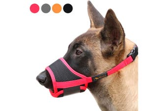 Dog Mouth Cover Nylon Soft Mouth Cover Anti-bite Barking Safety Mesh Breathable Pet Mouth Cover Suitable for small,medium and large dogs Red L