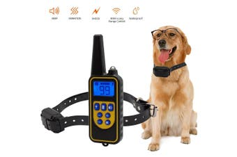 Dog Anti Bark Collar Adjustable Rechargeable and Waterproof Collar Beep Vibration Shock Training Collar for Small Medium Large Dogs YELLOW
