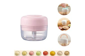 Electric Mini Food Garlic Vegetable Chopper Grinder Crusher Press,Powerful Cordless Electric Vegetable Blender/Chopper,Rechargeable Onion Multi-Function Processor and Mini Food Choppers  Pink