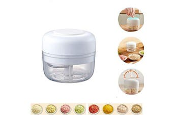 Electric Mini Food Garlic Vegetable Chopper Grinder Crusher Press,Powerful Cordless Electric Vegetable Blender/Chopper,Rechargeable Onion Multi-Function Processor and Mini Food Choppers  White