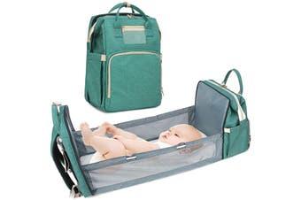 Diaper Bag Backpack,Baby Portable Bed Diaper Bag Mummy Bag Backpack Multifunctional Travel Crib Bag Green