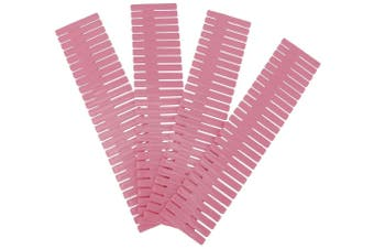 4Pcs/Set DIY Plastic Grid Drawer Organizer Adjustable Divider Drawer Dividers Separators Household Locker Space Saving Tool(32*7cm-Pink)