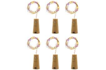 MIS1950s 6Pcs 2M 20 LED Solar Cork Wine Bottle Stopper Copper Wire Lights Fairy Lamps
