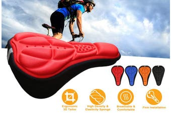 Bicycle Seat Cover-3D Gel Ultra Soft Bicycle Seat Cushion Suitable for Mountain Bike Riding Men and Women,Red