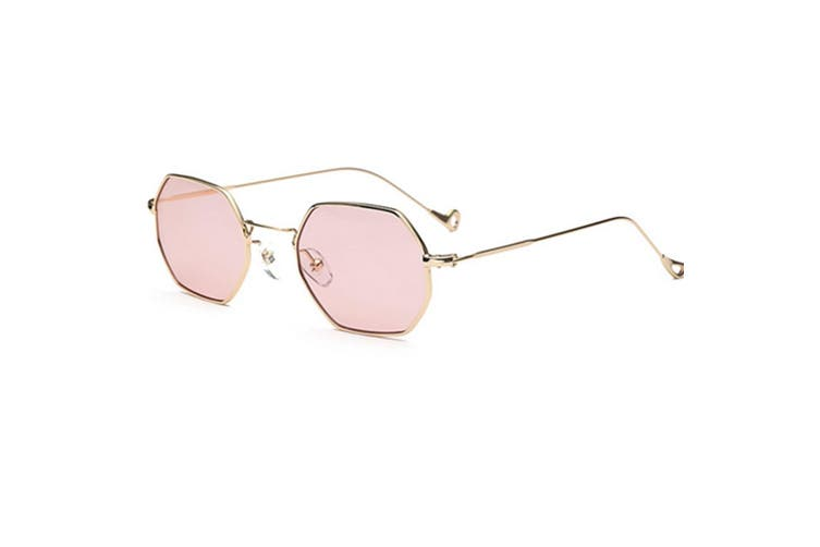 Small Metal Frame Sunglasses Square Flat Clear Lens  PinkLens