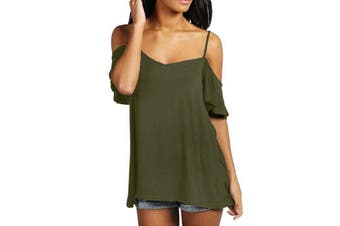 Women's Low Cut Off Shoulder Flounce Sleeve Swing Top