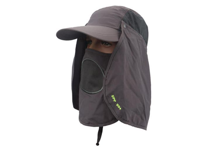 Outdoor Sun Protection Removable Neck&Face Flap Cover Hats DarkGray