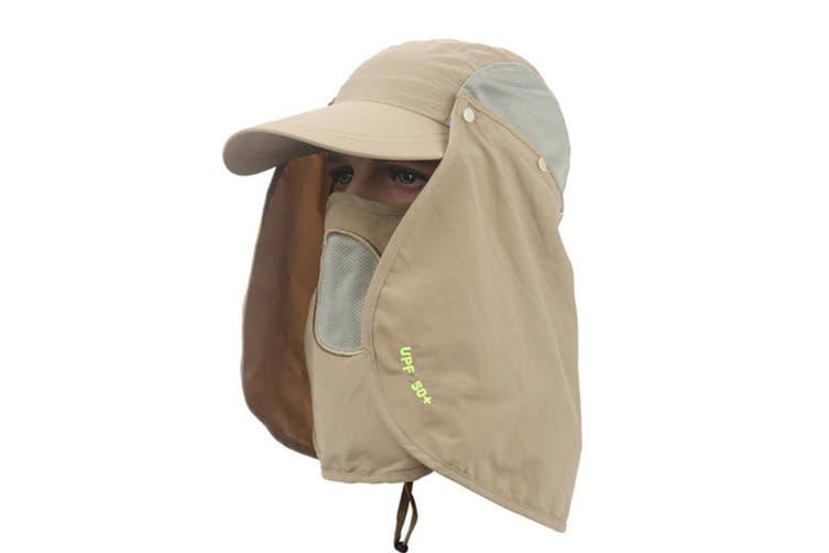 Outdoor Sun Protection Removable Neck&Face Flap Cover Hats Khaki