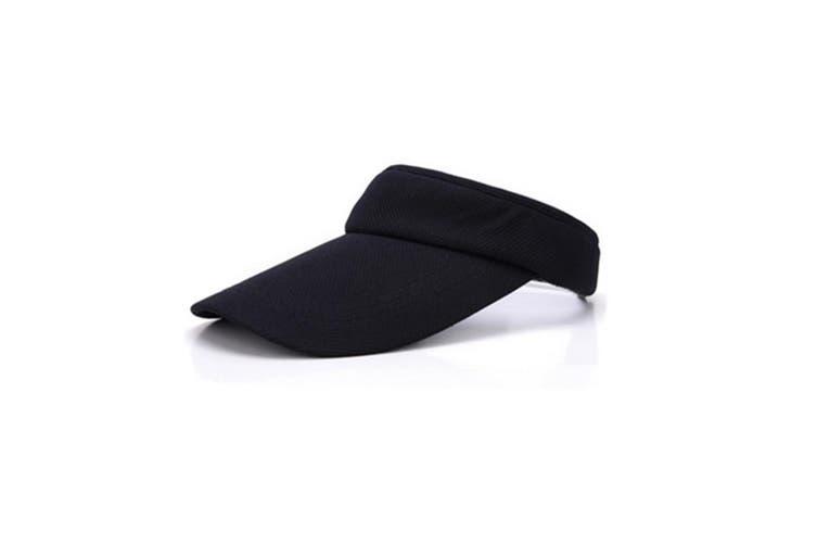 Plain Adjustable Velcro Sports Tennis Golf Sun Visor Hats Black