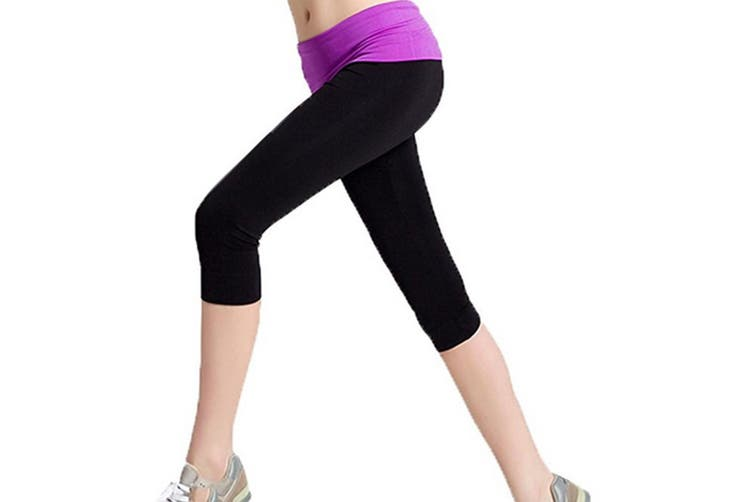 Women's Running Yoga Capri Legging Pants with Fold Over Solid Waistband  Purple