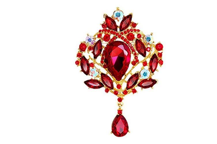 Wedding Bridal Big Crystal Rhinestone Bouquet Brooch Pin for Women GoldRed