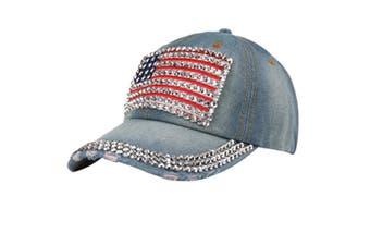 American Flag Rhinestone Jeans Denim Baseball Adjustable Bling Hat Cap LightBlue