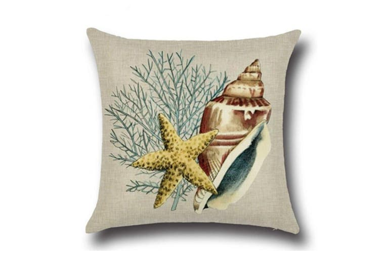 "Ocean Theme Seashell Pattern Square Cotton Throw Pillow Cover 18"" X 18"" 1"