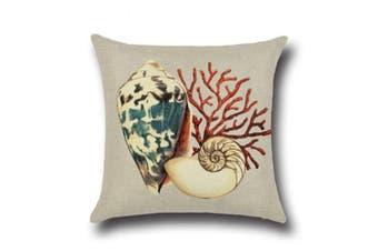 "Ocean Theme Seashell Pattern Square Cotton Throw Pillow Cover 18"" X 18"" 2"